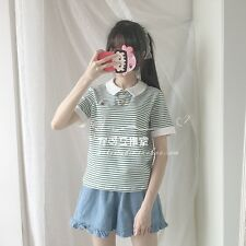 Japanese Sweet Lolita Preppy Style Stripe Embroidery Short Sleeve T-Shirts Tops