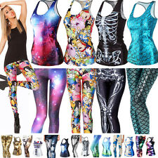 Women 3D Printed Gothic Punk Vest T-Shirt Tank Top Stretchy Leggings Tight Pants