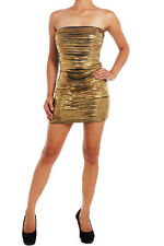 Dress Metallic Strapless Gold Strappy Club Sexy S M L Mini Tube Party New Shiny
