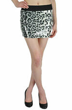 S M L Skirt Clear Sequin Leopard Animal Printed Elastic Waist Micro Mini Sexy