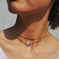 New Natural Crystal Pendant Bead Alloy Short Multi-layer Chain Choker Necklace