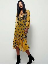 New Floral Printed Deep V-neck Bow Collar Long Sleeve Dress for Women BR197
