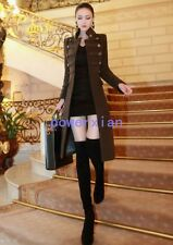 Womens Long Trench Coats Wool Blend Slim Fit Double Breasted Jackets Outwears