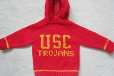 NEW! Hand Knit USC Trojans Baby Sweater back zipper 6 or 12 month Red Hoodie