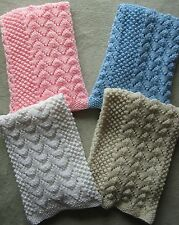 NWT! Gorgeous Hand Knit Baby Blanket Irish Knit Afghan 34x38 Pick Color
