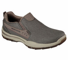 64993 Taupe Skechers Shoes Men Canvas Memory Foam Slip On Comfort Loafer Casual
