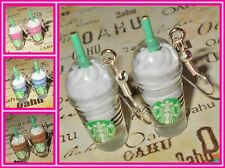 Starbucks Frappuccino Coffee Ice Blennded Smoothie Silver Plated Earrings USA