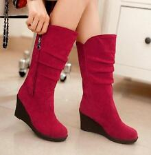 New Riding Boots Womens Suede Wedge Heels Side Zip Knee High Boots Casual Shoes