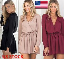 US STOCK Women Ladies Cross V Neck Sexy Lace UP Chiffon Rompers Shorts Jumpsuits