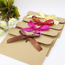 50Pieces Vintage Brown Kraft Paper Wedding Party Envelopes Station with Ribbon