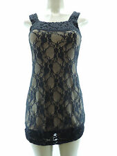 NEW PINK POLKADOT 285 Sharise Neil Little Black Lace Dress Nude Solid Lining S