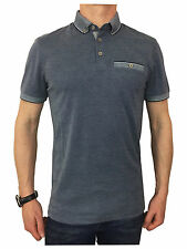 Ted Baker Mens S/S Oxford Flat Knit Collar Polo Shirt in Navy Blue