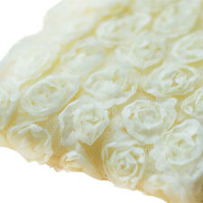 3 Yards 6-Rows 3D Chiffon Rose Flower Lace Trim Embroidered Sewing Applique DIY