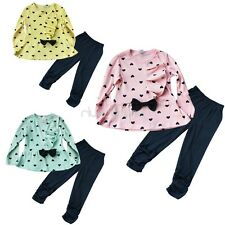 2Pcs Toddler Baby Girls Sleeve Bowknot Clothes Outfits Sweater Top Pants Set New