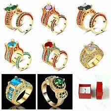 Princess Amethyst /red CZ 10KT Yellow Gold Filled Women's Wedding Ring Set Size