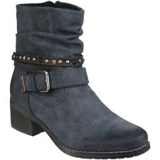 Divaz Womens/Ladies West Textile Textured  Zip up Ankle Boots