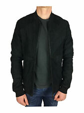 Scotch & Soda Patch Panel Suede Leather Bomber Jacket in Black