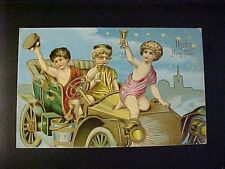 Happy New Year Postcard 1908 Toasting while driving in City Embossed