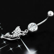 Dolphin Love Fish Belly Bar Piercing Button Ring Crystal Dangly Reverse Navel