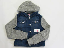 NWT Justice Kid Girls Size 6/7 8/10 or 12/14 Knit Hooded Denim Jean Jacket