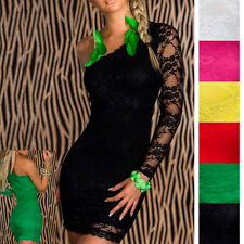 Womens One Shoulder Floral Mini Lace Party Cocktail Gowns Bodycon Clubwear Dress