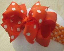 Orange Dots Boutique Hair Bows Girls Big Double Layered Boutique Custom hairbows