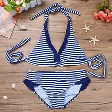 2Pcs Girls Kid Striped Bikini Swimsuit Swimwear Halter Tankini Tops Bottoms Set