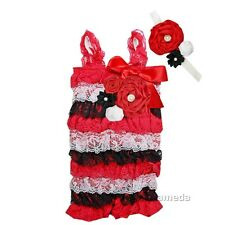 Baby Red Black White Lace Petti Rompers & Flower Headband Outfit