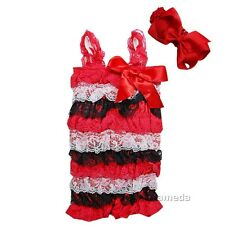 Baby Red Black White Lace Petti Rompers & Bow Headband 2pcs Set