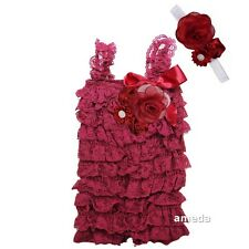 Baby Wine Red Rosettes Lace Petti Rompers & Flower Headband