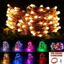 USB 8 Function 10M 100 LED Copper Wire String Lights FairyWedding Party Lamps