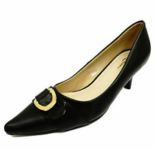 LADIES BLACK LEATHER SLIP-ON KITTEN LOW HEEL COMFY COURT POINTY WORK SHOES 2-7