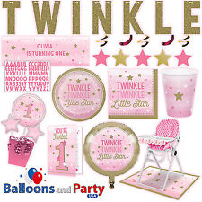 Twinkle Little Star Girls 1st Birthday Party Supplies Tableware Decorations kit