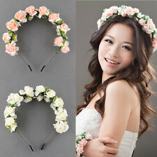 Boho Style Flower Crown Headband Wedding Prom Festival Garland Hairband Floral H