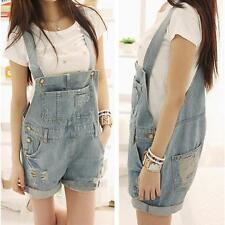 Womens Washed Denim Lesiure Hole Jumpsuit Romper Overalls Short Pants 2017 S8888