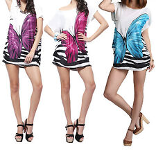 Fashion Ladies Short Sleeve Womens Stretchy Shirt Butterfly Top