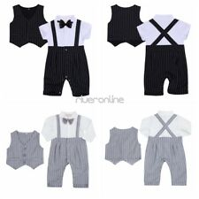 2Pcs Newborn Baby Boys Gentleman Rompers Vest Outfit Sets Wedding Party Striped