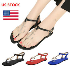 Fashion Women's Flat Beach Sandals Shoes Anchor Buckle Flip Flops T-Strap Sandal