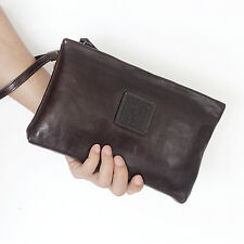 Genuine Leather Mens Fashion Clutch Handbag Purse Soft Business Document Bags
