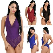 One-Piece Mesh Womens Halter Lace-up Lingerie Nightwear Lace Underwear Sleepwear