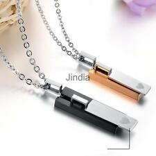 Couple Lover Valentine 316L Stainless Steel Matching Rectangle Pendant Necklace