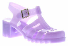 New Ladies/Womens Lilac Block Heeled Buckle Fastening Jelly Shoes UK SIZES