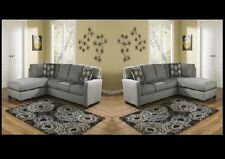 Contemporary Charcoal Upholstery Fabric Sectional Sofa Set Ashley Furnture Zella