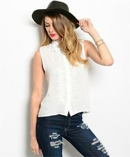Women White collared Button Down Blouse Top Sleeveless Crochet Casual Relaxed