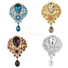 Women Fashion Rhinestone Crystal Bridal Large Flower Drop Brooch Pin Pendant