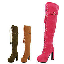 kala womens Lace up Vintage Ladies Long Mens Disco over knee Boots Size 4-10