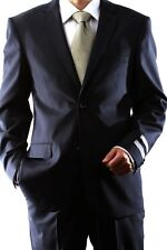 MENS 2 BUTTON SUPER 140S WOOL MAX NAVY SLIM FIT DRESS SUIT, 47012H-47033-NAV