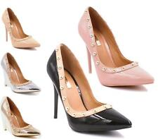 NEW WOMENS STUDDED STILETTO HIGH HEELS POINTED TOE PATENT COURT SHOES 3-8