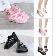 Fashion Women's Lace Up Ankle Tie Open Toe Strappy Roman Gladiator Flat Sandals
