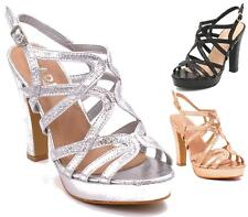 WOMENS LADIES HIGH STILETTO HEEL BARELY THERE STRAPPY PARTY SANDALS SHOES SIZE 3